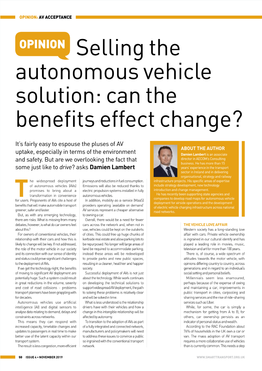 Selling the autonomous vehicle solution: can the benefits effect change?